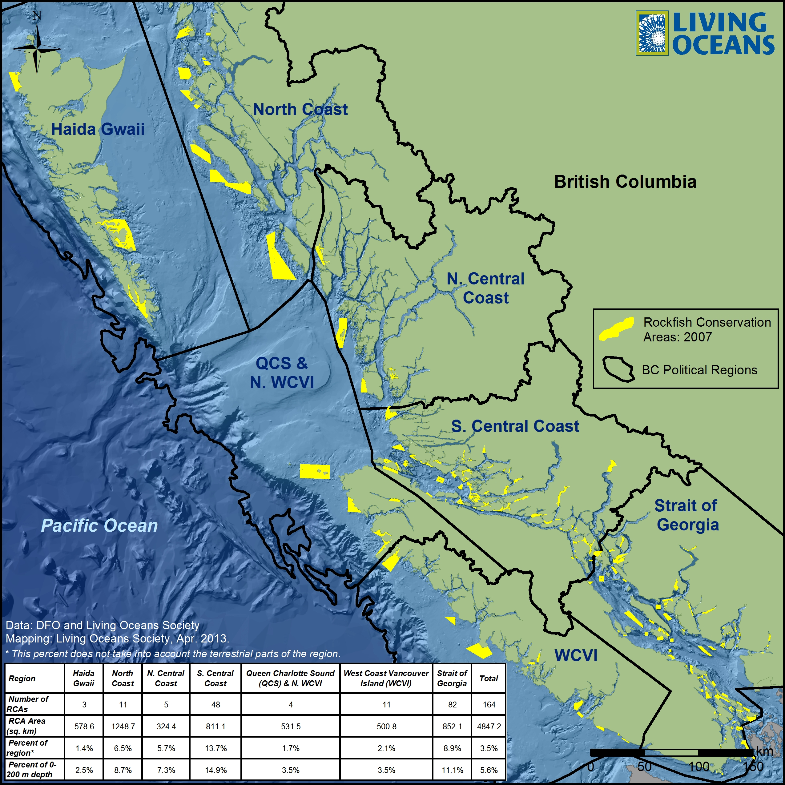 Rockfish Conservation Areas By Bc Regions Living Oceans