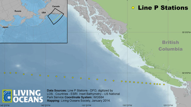Canada's Line P made up of 26 seawater sampling stations that are being used to monitor for radioactive elements.