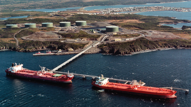 Oil tankers take on crude oil at Placentia Bay.