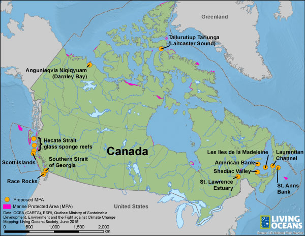 Map of recommended MPAs in Canada
