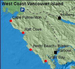 Map of northern Vancouver Island beaches