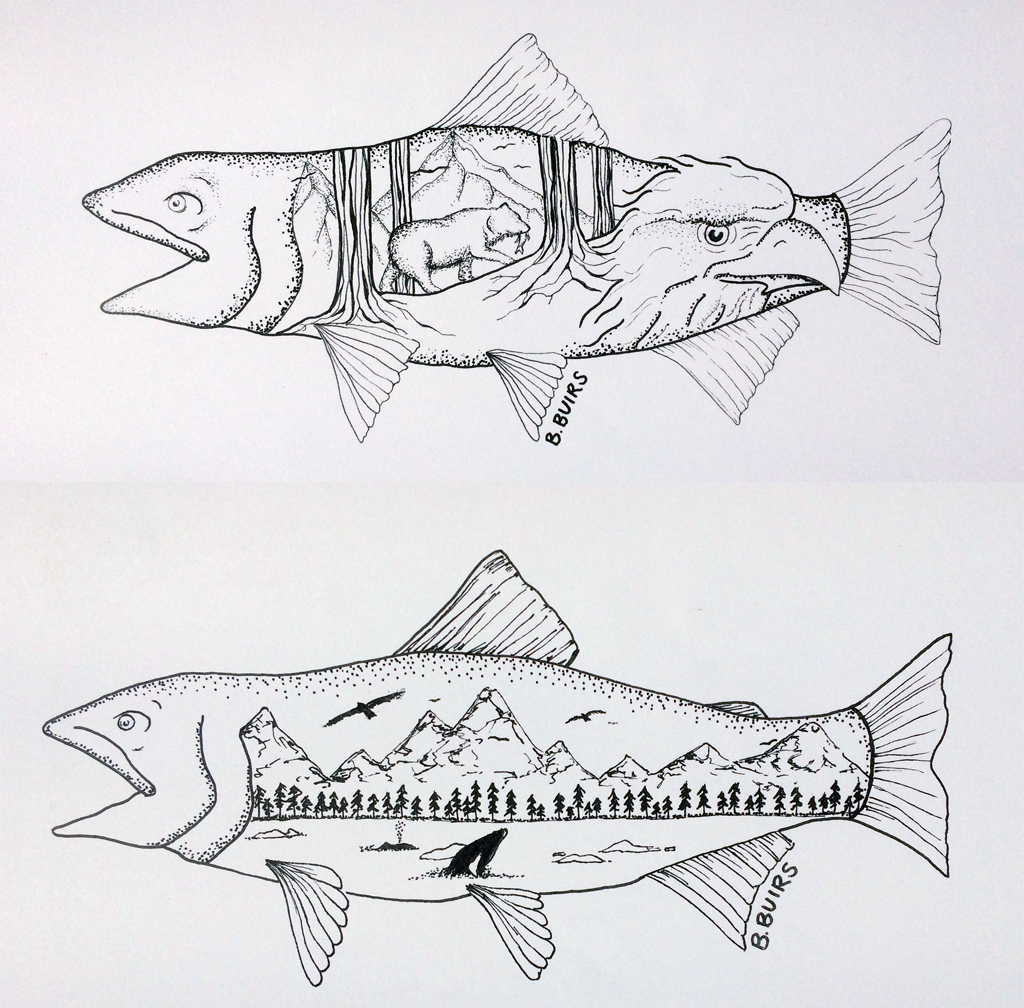 Two drawings by Brittany Buirs