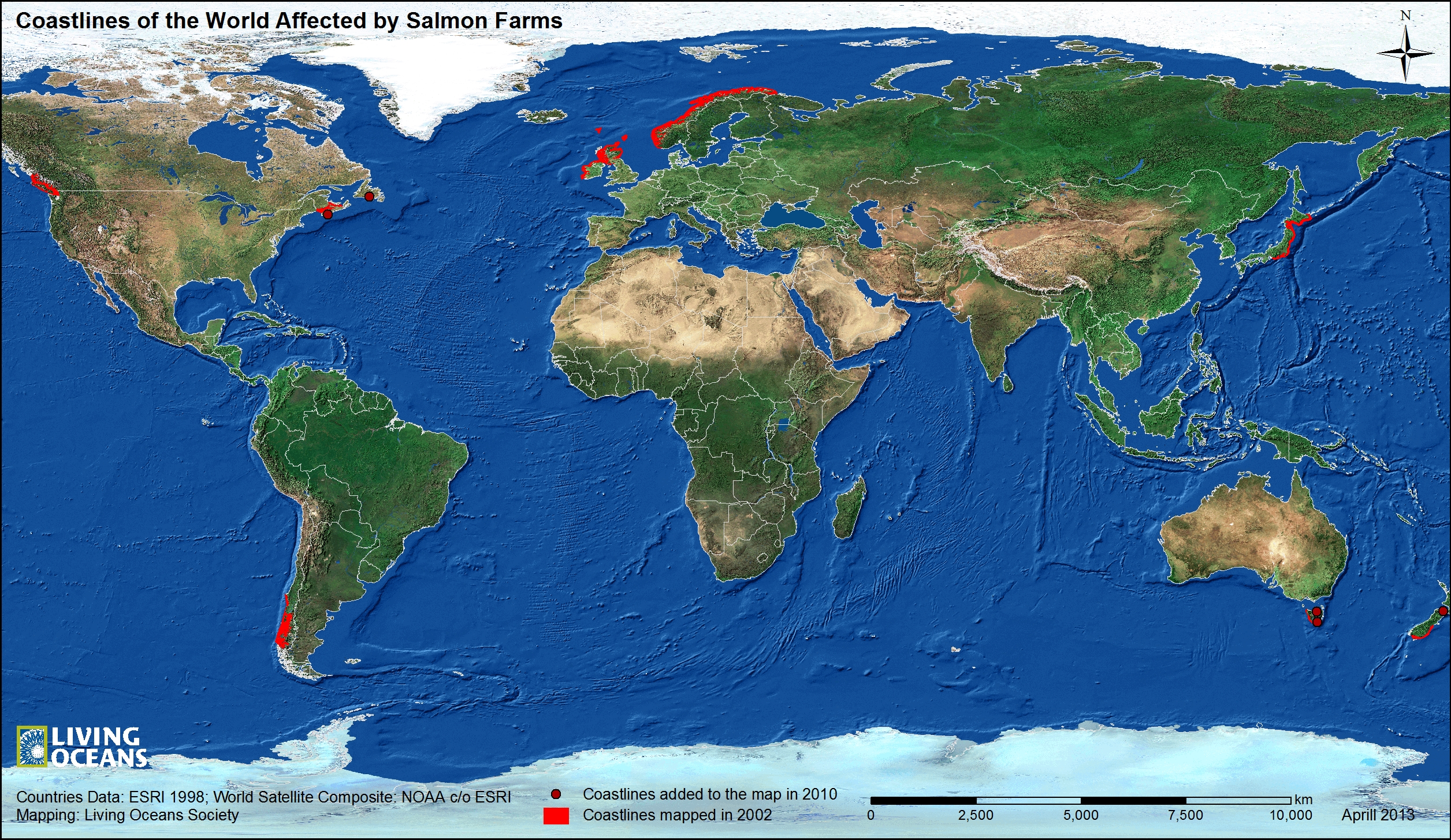 Coastlines Of The World Affected By Salmon Farms Living Oceans - 7 oceans of the world map