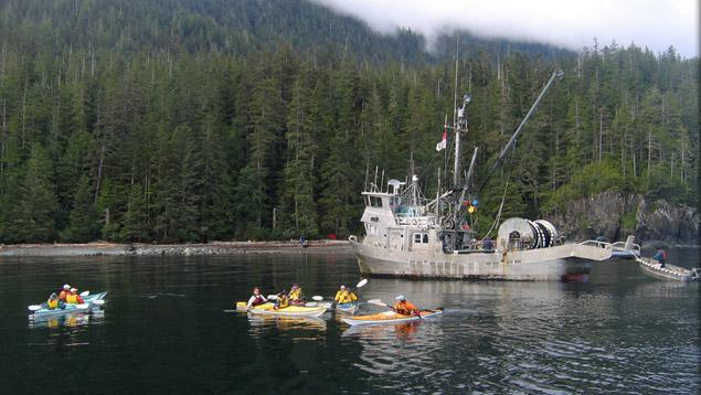 Fishing boats and kayaks
