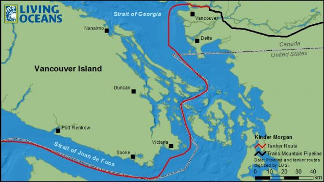 Kinder Morgan's Trans Mountain pipeline and tanker route