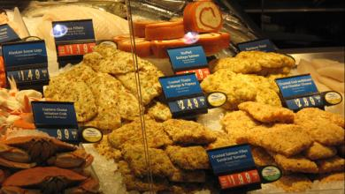 Seafood in display case