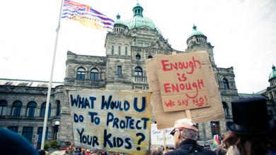 Anti-tanker protest at B.C. legislature buidling