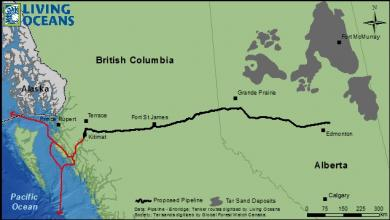 Map of Northern Gateway pipeline and tanker route