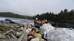 Lift tenders at one of dozens of sites where marine debris is cached on Vancouver Island's West Coast