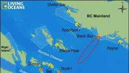 Map of Marsh Bay salmon farm